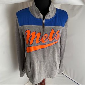 Victoria's Secret PINK blue/gray Mets 1/4 zip L